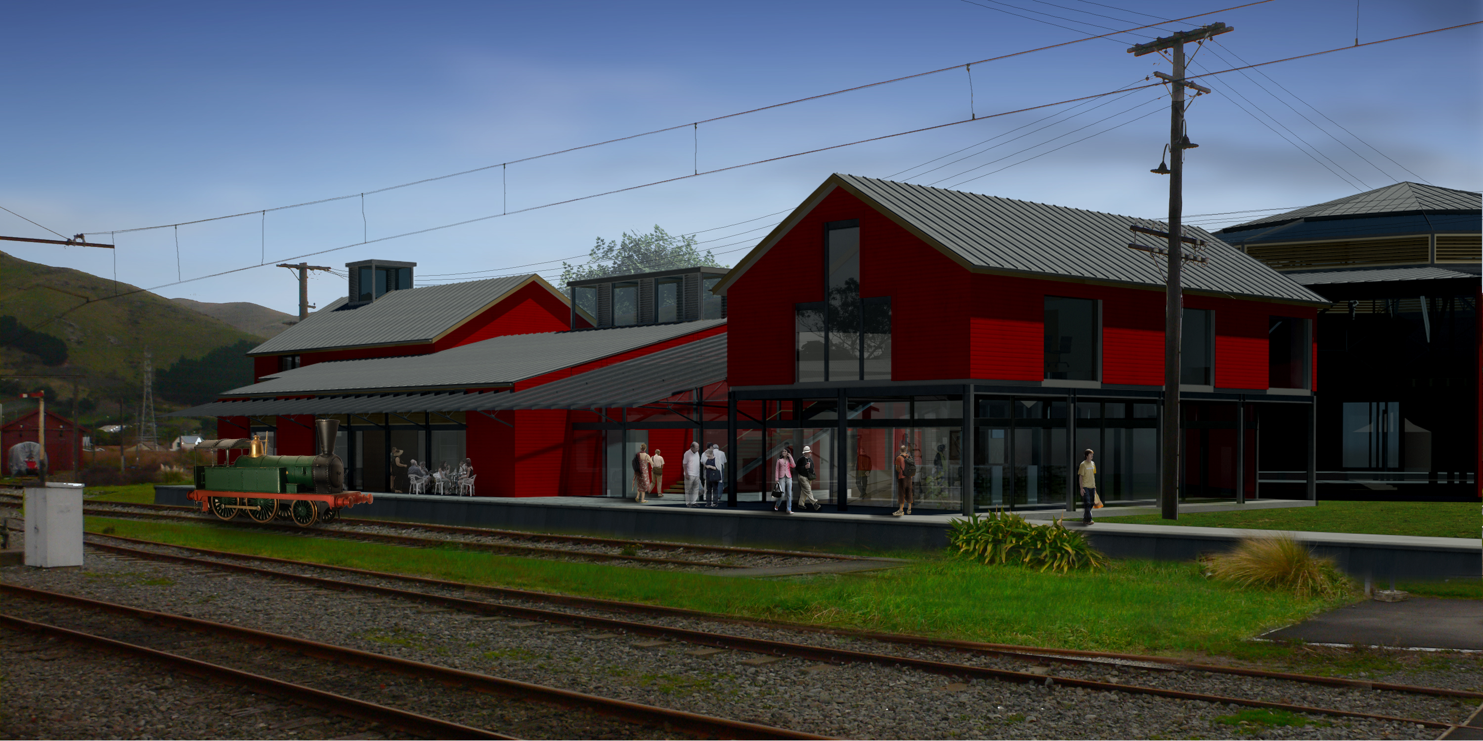 Rendered View of the National Railway Museum of New Zealand Frontage
